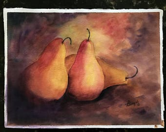 Picturesque Pears, original watercolor painting