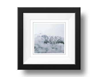 Snowy Mountains Quote Print, Snowy Mountain Photograph, Square Wall Art