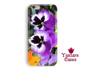 Pansies iPhone 7 case purple flowers iPhone 6 case phone case cute iPhone 8/5/5s/SE/7/6 Plus/8 Plus case pretty iphone case anniversary gift
