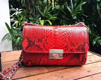 python leather handbag handcrafted