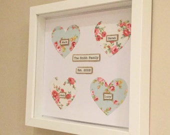 Family Frame - family names - love heart - gift