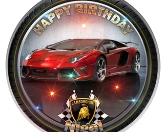 Red Lamborghini Personalised Edible Icing. Birthday Cake Topper Decoration 7.5""