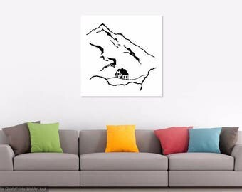 Mountain Line Art Print    Minimalist Wall Decor    Black and White Drawing