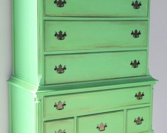 Queen Anne antique solid wood high boy painted in Annie Sloan's Antibes Green chalk painted furniture came from Boston to Washington