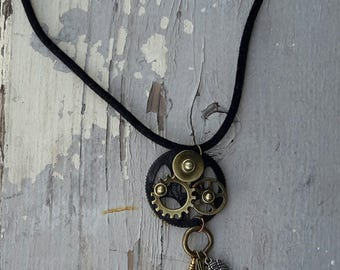 Steampunk charm necklace