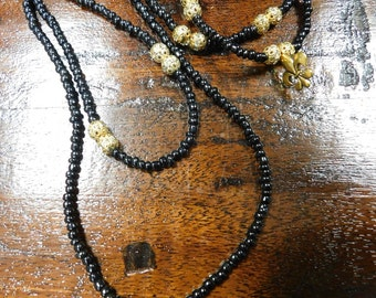 Fleur De Lis Beaded Necklace and Bracelet Set