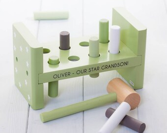 Personalised Stars Green Toy Hammer Bench