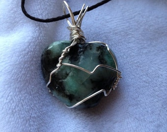 Emerald, crystal, silver wire wrapped, bamboo cord