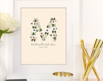 Nursery Art Print | Baby Announcement | Initial Art | Monogram | Wall Decor | Nursery Room Art | Girls Room | Baby Name and Birth Date Art