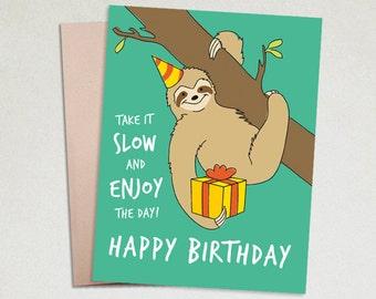 Birthday card - Cute birthday card - Greeting Cards Birthday - Birthday card for friend - Sloth birthday card