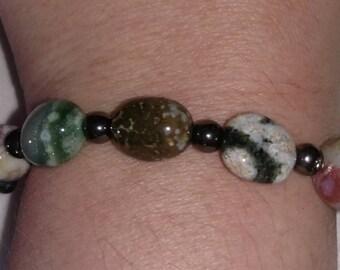 Ocean Jasper and hemitite bracelet