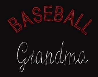 Baseball Grandma Rhinestone Iron on T Shirt Design           K8QE