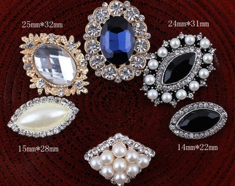 Bling Metal Horse eye/Oval Rhinestone Buttons for Craft Flatback Crystal Decorative Pearl Button for Hair Accessory