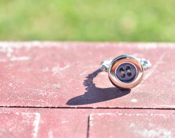 Navy/Silver Button Wire Ring