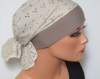 Head scarf Hat/CHEMO Hat beige m. embroidery high comfort during chemotherapy hair loss cancer alopecia boating convertible driving