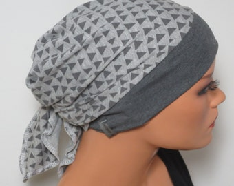 Head scarf Hat/CHEMO Hat gray with a subtle pattern with ALOPECIA hair loss