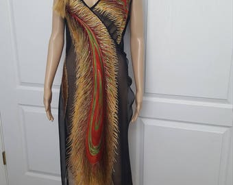 Vintage 70's Swimsuit cover/up Sheer Dress / Women's size 4 S Small