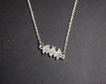 Silver tone small Batman necklace