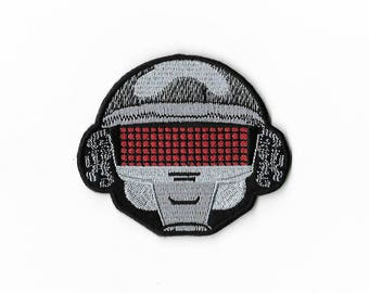 Robot Helmet Patch 3 Inch Embroidered Iron/Sew on Badge Applique Souvenir DIY Costume Punk Electronic Funk