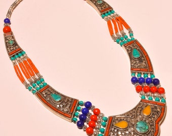 Nepali Necklace Rare Boho Necklace,Turquoise ,Coral,Lapis Lazuli For Sister Gift