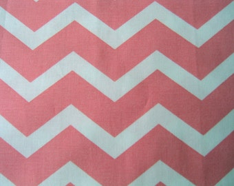 Chevron Fabric Coral and White By the Yard 36 Inches Long