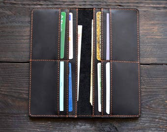 Vintage Mens Wallet Brown Leather Wallet Mens Anniversary Black Leather Wallet Unisex Wallet