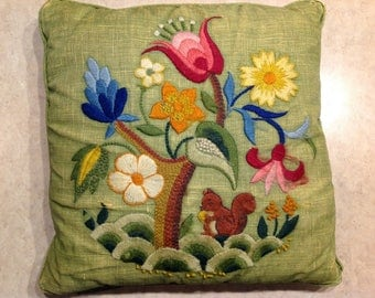Vintage Hand Embroidered Linen Throw Pillow