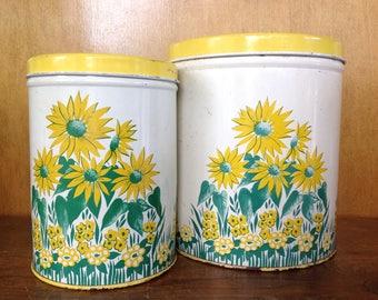 Set of 2 Vintage Sunflower Metal Canisters