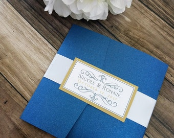 Elegant navy blue and gold wedding invitation