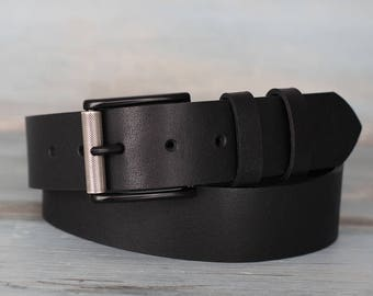 Leather Belt, Black Leather Belt, Mens Belt, Jeans Belt