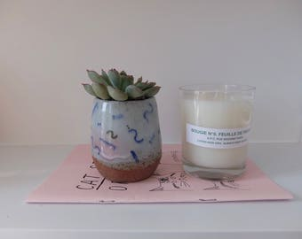 Handmade Thrown Scribble Pattern Glazed Succulent Planter / Pot with Bare Stoneware Base