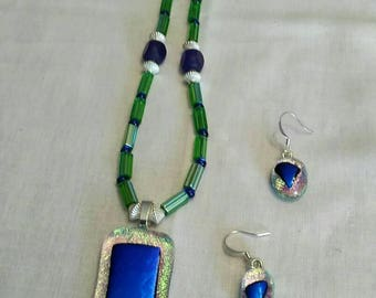 Dichroic fused glass pendant, matching earrings, necklace, blue, green, original one of a kind