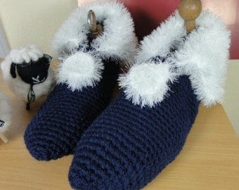 Crochet slippers dark blue with white Velcro edge
