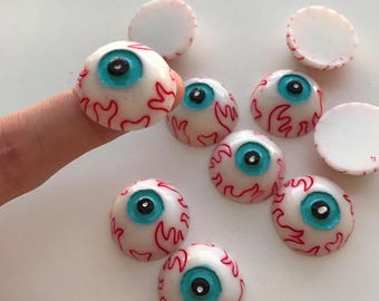 Flat Back Resin Cabochon Zombie EyeBall Evil Eye Halloween DIY Miniature Decorative Craft Scrapbooking Embellishment:25mm