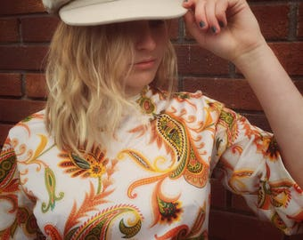 1970s Vintage Retro 2 Piece Body Suit and Hat