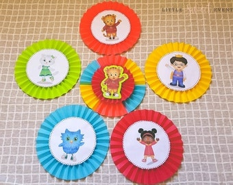 Daniel Tiger Paper Fans. Daniel Tiger Decor. Daniel Tiger Party Supplies. Daniel Tiger Birthday. Daniel Tiger Backdrop