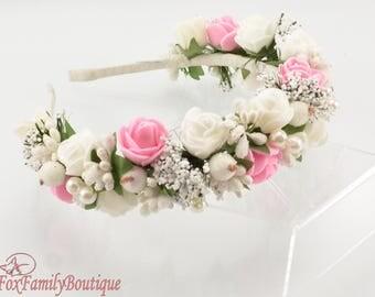 Valentine's Day gift Wedding accessories Flower crown  Floral hair wreath Flower headpiece Flower hair accessories Bridal wreath Wood crown