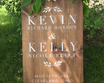 Wedding greeting wood sign   rustic wedding   farmhouse   entrance sign   welcome sign   wedding itnerary  