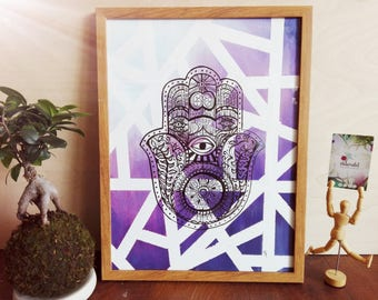 Buddha's inspiration, unique piece, painted & framed art