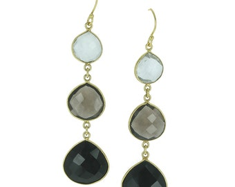 Smoky quartz and Onyx earrings
