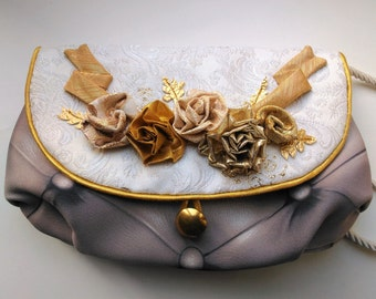 """Handbag """"Marie-Antoinette"""", evening bag with a garland of flowers inspired by the decorations of Château de Versailles, unique piece."""