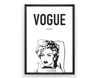 Vogue Printable, Madonna Printable, Madonna Print, Celebrity Poster, Celebrity Art, Instant Download, Digital Download, Modern Wall Art, Art