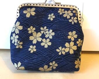 Gold Dark Blue Cherry Blossom Flower Coin Purse Wallet