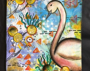Mystic Swan-Original handmade mixed media painting. one of a kind!