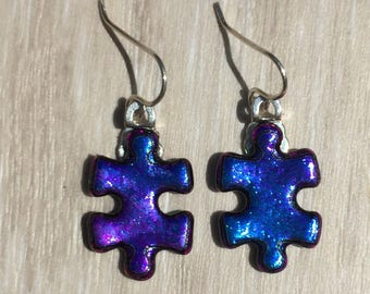 Dichroic Fused Glass Earrings - Purple Aqua Blue Puzzle Earrings with Solid Sterling Ear Wires
