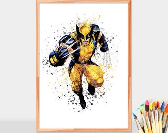Xmen Wolverine, Watercolor Superhero, Wolverine Art, Wolverine Poster, Nursery Watercolor Painting