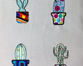 4 x Cactus Patterns. Machine embroidery raw edge applique design by Pixie Willow Patterns