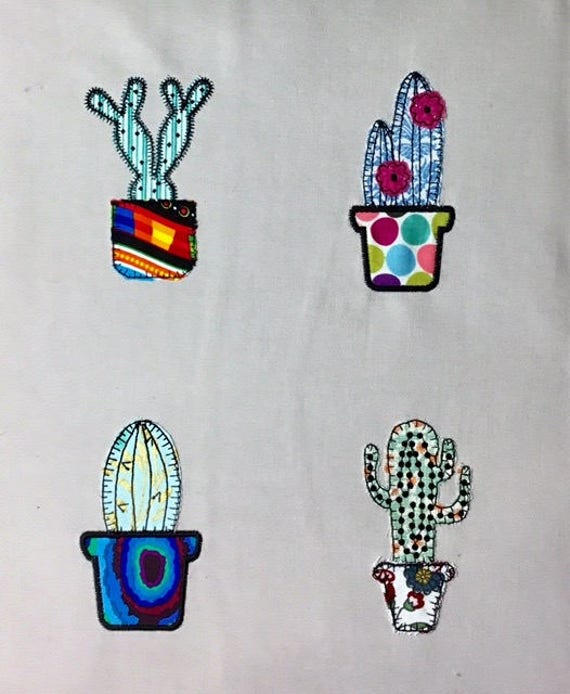 Cactus patterns machine embroidery raw edge applique