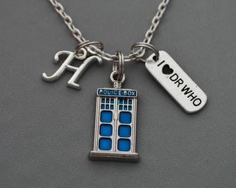 Doctor Who Necklace, Initial Necklace, Tardis Police Box,  Blue Tardis, Dr who gifts, Doctor Who BBC Cosplay