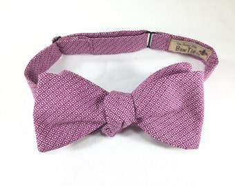Rose Bow Tie, Self Tie Bow Tie, 100% Cotton Bow Tie, Spring Bow Tie, Freestyle Bow Tie